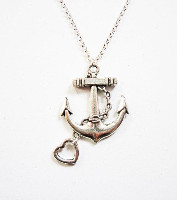 anchor necklace, silver anchor pendant necklace, anchor necklace jewelry, anchor pendant, heart charm, heart and anchor necklace, under 20
