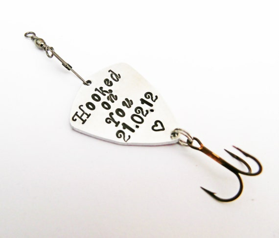 Personalized Gifts for Men 1st Anniversary Gift for Man Personalized Fishing Lure Custom Fishing Lure Outdoor Gift Hooked on you since, date
