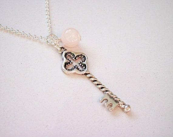 Silver Key Necklace, Key Jewelry, Key Pendant, Key Jewelry under 25, Silver Necklace, Short Key Necklace, small key, tiny