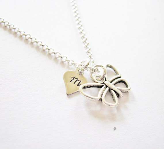 Butterfly charm necklace, initial necklace, initial hand stamped, personalized, antique silver, monogram pendant, silver jewelry butterfly