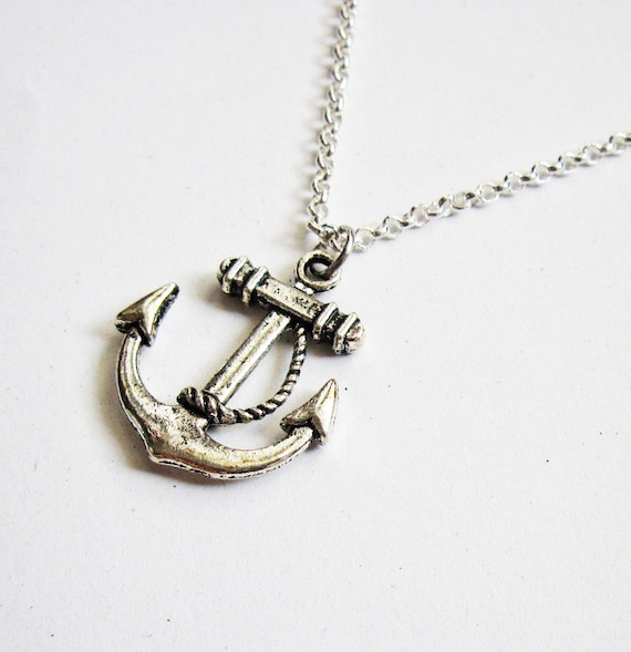 anchor dainty necklace - nautical jewelry / gift fo her under 20usd, Silver Anchor Necklace, anchor pendant, silver necklace