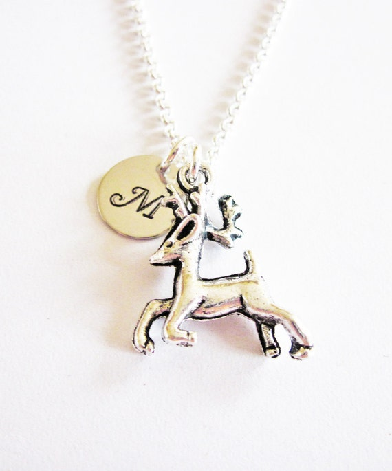 Small Deer Necklace. Initial Necklace. Antique Silver Deer Pendant. Personalized Jewelry. Animal Jewelry, silver necklace, hunter necklace