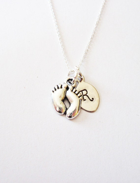 Personalized Initial necklace, Silver leaf Jewelry, Monogram Baby foot charm Necklace, New Mom's Christmas Jewelry, mum necklace, new mother