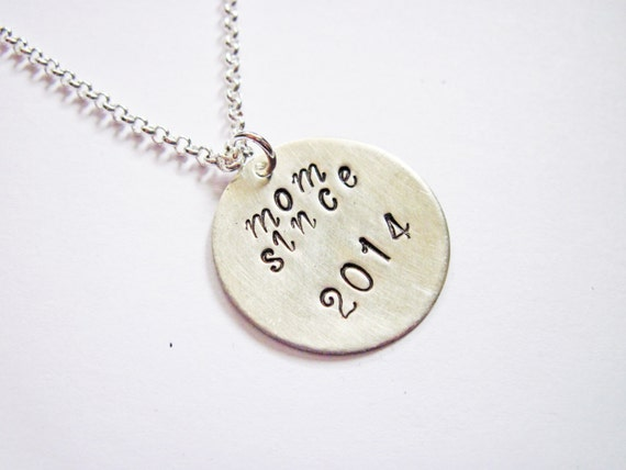 Personalized Mom Necklace, mother necklace, mom gift, mom jewelry, hand stamped necklace, mom since, new mom, new mother