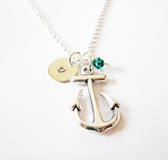 initial necklace, antique silver anchor necklace, anchor pendant, birthstone necklace, ahoy nautical charm necklace, personalized necklace