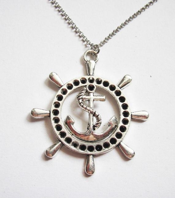 ship wheel necklace, nautical jewelry, sea necklace, beach jewelry, silver anchor necklace, anchor necklace jewelry, anchor pendant, rudder