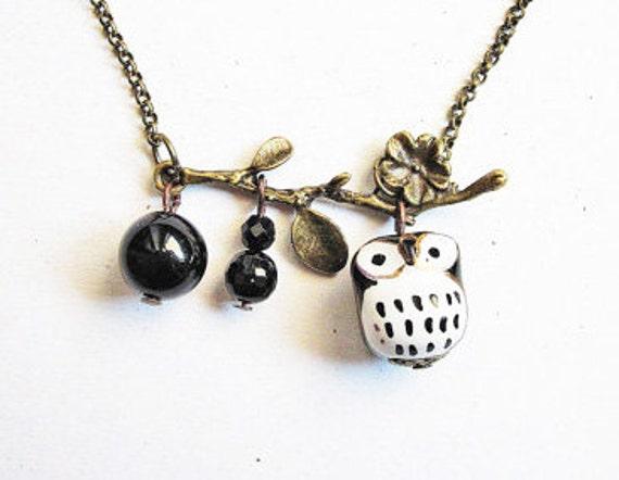 Brass Owl Necklace, Owl Pendant, Owl Ceramic Necklace, Black Onyx, Woodland Creatures, Owl Jewelry, Miniature Owl Necklace