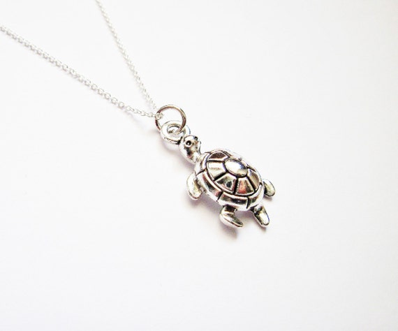 Little sea turtle necklace, sterling silver sea turtle jewelry, Tiny Sterling Silver turtle Necklace, Little Dainty turtoise Charm Sterling