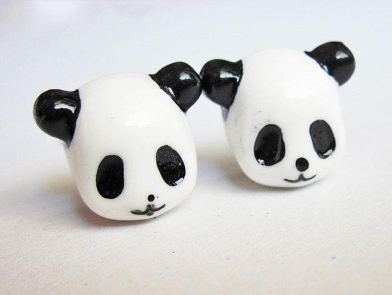 panda earrings, post earrings, stud earrings, small post earrings, animal earring, tiny earrings, cute earrings, panda jewelry, panda posts