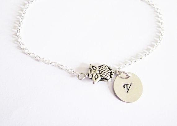 personalized owl bracelet, owl silver bracelet, silver charm bracelet, hand stamped initial jewelry, owl jewelry, owl charm bracelet initial