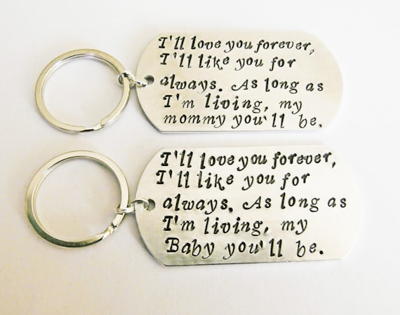 Mother Daughter Set, I'll love you forever, I'll like you for always, as long as I'm living, my mommy Baby you'll be keychain, mum & me set