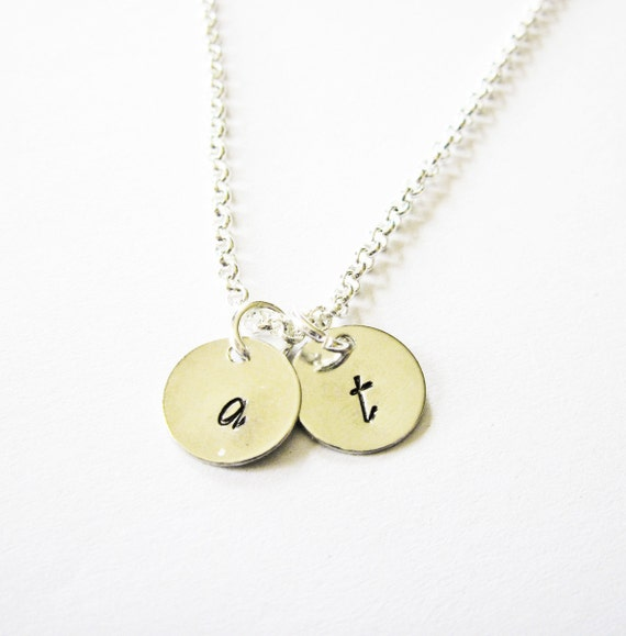 Two Initials Necklace, personalized necklace, two discs Silver necklace, engraved monogrammed necklace, hand stamped necklace, 2 initials
