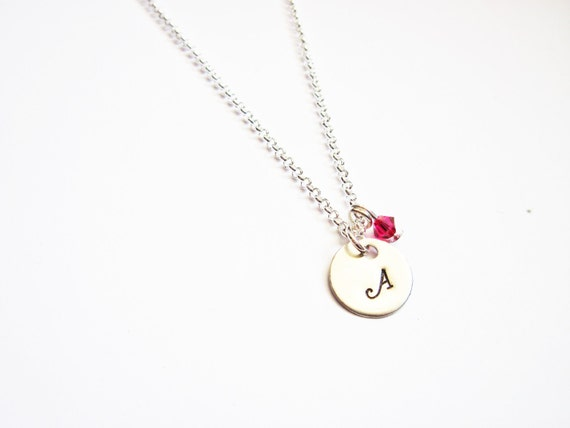 Tiny Initial Birthstone Necklace, Hand Stamped Personalized Jewelry, Mom Mother Grandma, 1 initial one, custom necklace, initial necklace