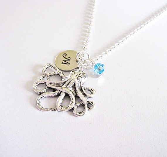 Octopus necklace, personalized necklace, initial birthstone necklace, long necklace tiny octopus jewelry animal, antique silver small charm