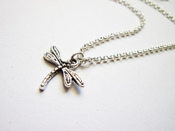 silver dragonfly necklace, dragonfly jewelry necklace, dragonfly pendant necklace, silver necklace insect bug jewelry, dragon fly necklace
