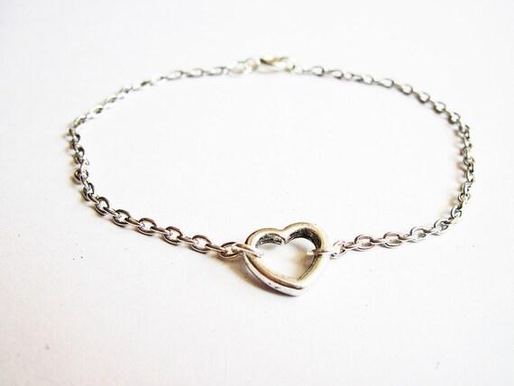 Heart Bracelet, Silver heart bracelet, Open heart bracelet, Tiny heart bracelet, Everyday bracelet, Heart charm bracelet, Bracelet Heart
