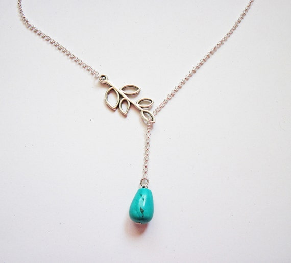 Leaves with turquoise Lariat Necklace - bridesmaid gifts, jemstone, Wedding jewelry, mother's day gift, Turquoise Necklace