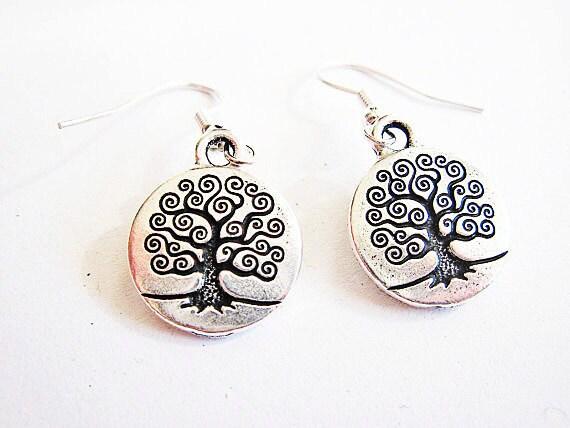 Tree of life earrings, silver tree branches earrings, tree of life leaves earrings, spiral branches earrings, dangle metal charm earrings
