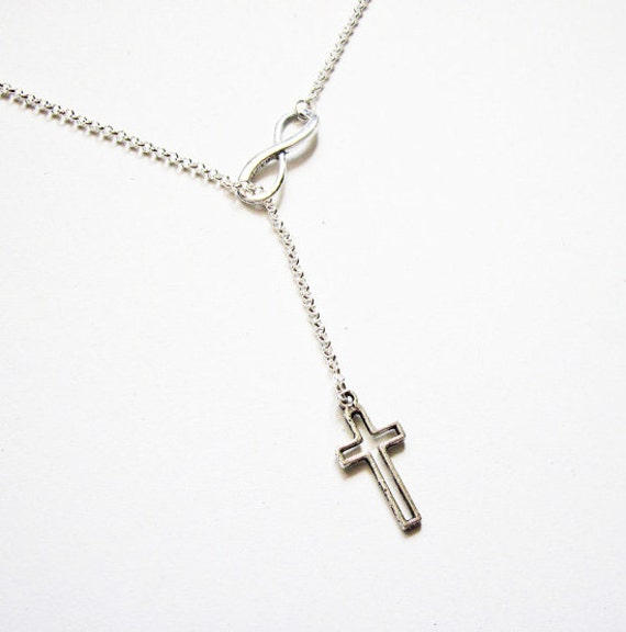 Infinity Necklace Cross and Infinity Necklace, Y Necklace, lariat necklace, sterling silver infinity necklace, cross necklace sterling