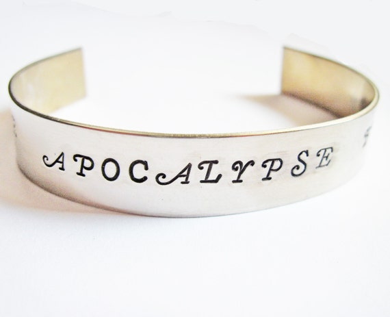 Zombie Bracelet, hand stamped, customized, personalized, Zombie Apocalypse Buddy , Zombie Partner Walking Dead men cuff bracelet engraved