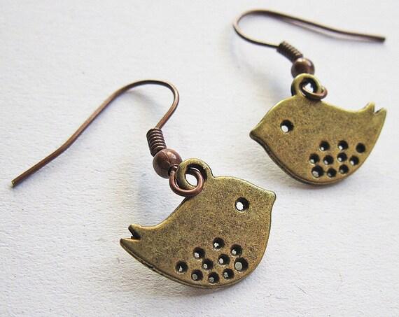 Love Bird Earrings, Lovebirds, antique bronze earrings, sparrow earrings, vintage style earrings, cute tiny birds earrings, bird jewelry