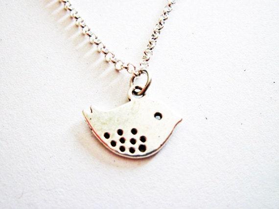 Love Bird Necklace, Silver love bird Necklace, lovebirds necklace, love birds, twitter bird necklace, birdie charm necklace, bird jewelry