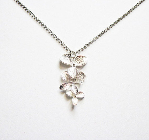 Triple Orchids Necklace, Dangling necklace, flowers necklace - bridesmaid gifts, Wedding jewelry, flower girl, anniversary gift