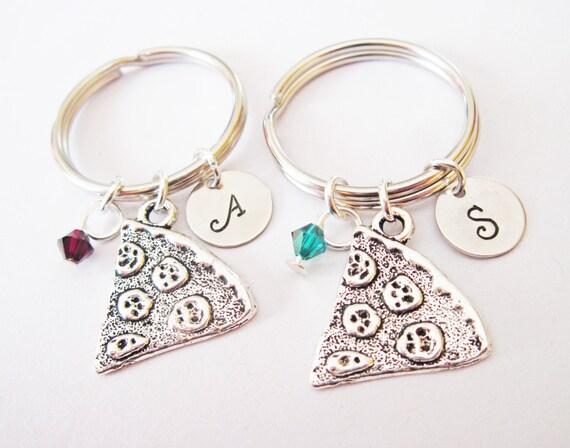 2 best friend keychains, set of two pizza key chains, birthstone initial pizza slice charm, bff gift custom keychain silver, culinary school