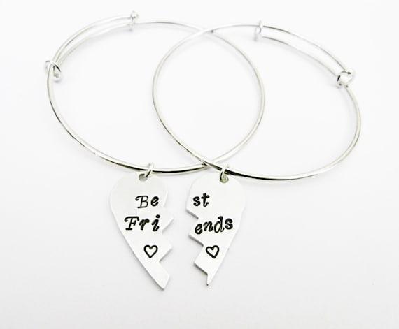 Half Heart Friendship Bracelet Set, 2 Best Friend Bracelets Bangles, Broken Heart Jewelry, Friendship Jewelry, Gift Best Friend Jewelry, bff