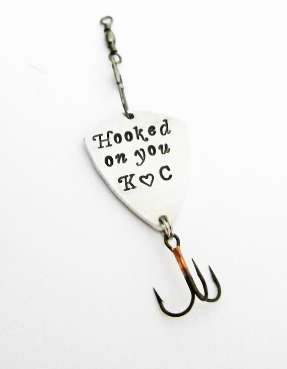 Personalized Fishing Lure Hooked on you Couples Gift Valentine's Day Hubby Wifey Her One His Only Two Initials Personal Gift Boyfriend