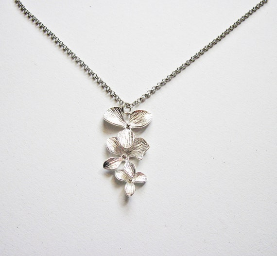 Silver Orchid Necklace, Trio Flowers, white gold plated. Orchid flower, Dangling Orchids, Floral Necklace Flower Jewelry, Bridesmaids