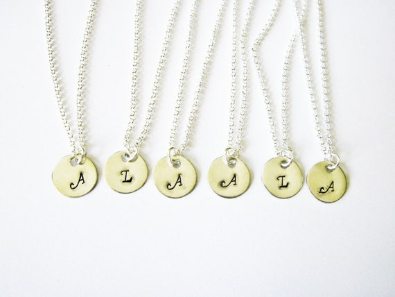 Set of 6 Bridesmaid Necklaces, Silver Initial, Personalized Jewel, Bridesmaid Gift, Birthstone Necklace, Bridal Jewelry, wedding party, six