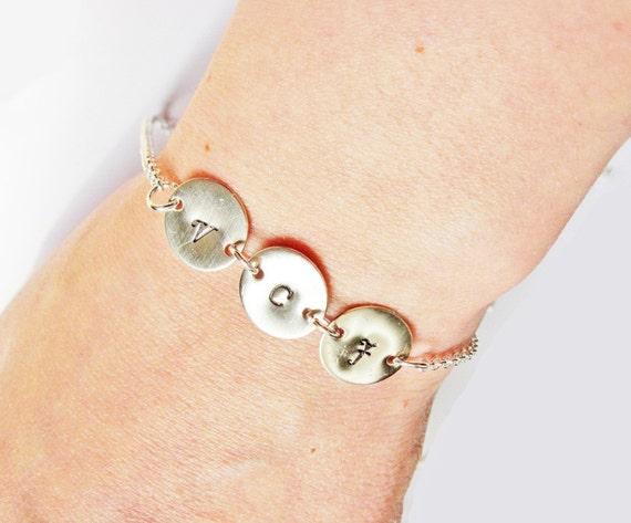 3 Initial bracelet - personalized bracelet, three disc bracelet Silver bracelet, engraved bracelet, monogrammed hand stamped bracelet charm