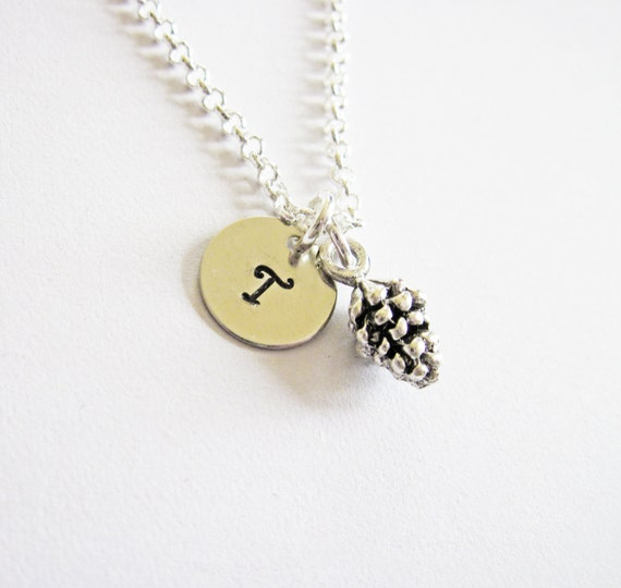 Pine cone Necklace, Pine Necklace, Cone Necklace, Initial Necklace, Personalized Necklace, Initial charm Necklace, flower girl, bridesmaid