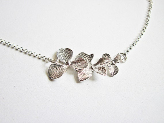 Orchid flower necklace, Dangling Orchids Flowers, Floral Necklace, Flower Necklace, Flower Jewelry, Floral Jewelry, Bridesmaid Necklace
