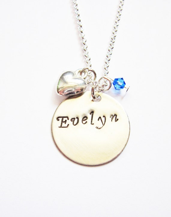 Personalized Name Necklace, heart necklace, hand stamped necklace, disc necklace, birthstone jewelry, silver necklace, 7/8 inch disc pendant