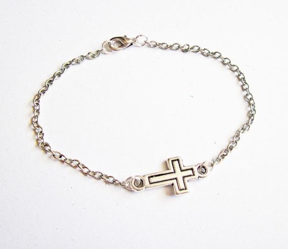 Sideways Cross Bracelet, Silver Cross Bracelet, Tiny Cross Bracelet, Side ways Cross Bracelet, horizontal cross bracelet, small cross