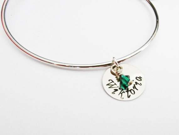 Personalized Name Bangle Bracelet, Silver Bangles, Adjustable Bangle, Children's Names, Mommy Gift, Birthstone Jewelry, grandma gift, charms