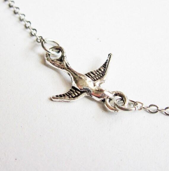 silver bird Necklace, Sparrow Necklace, Bird Charm Necklace, flying swallow bird necklace, tiny sparrow necklace, simple everyday jewelry