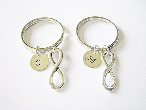 bff key chains, best friends gift ideas, bff best friend key chain, friendship infinity, gift for best friend, initial keychain, silver
