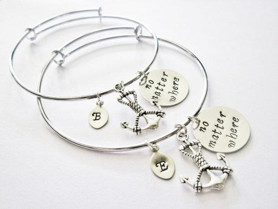 Personalized Friendship Bracelet Set, 2 Custom Initial Bangles, Best Friend Bracelet, Friendship Jewelry, Gift for Best Friend Jewelry