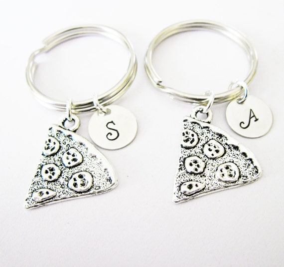 2 personalized best friend pizza keychain, set of two, antique silver initial pizza charm, bff gift, custom keychain silver sisters keychain