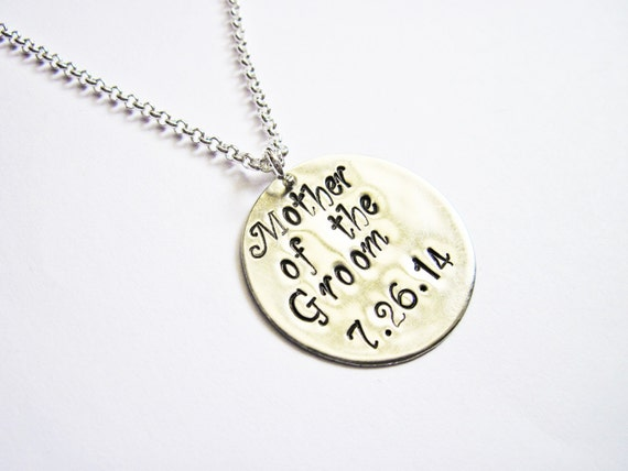 Mother of the Groom Necklace, New Mother in Law, Mother of the Groom Gift Necklace, In Law Gift, personalized wedding date, silver brass