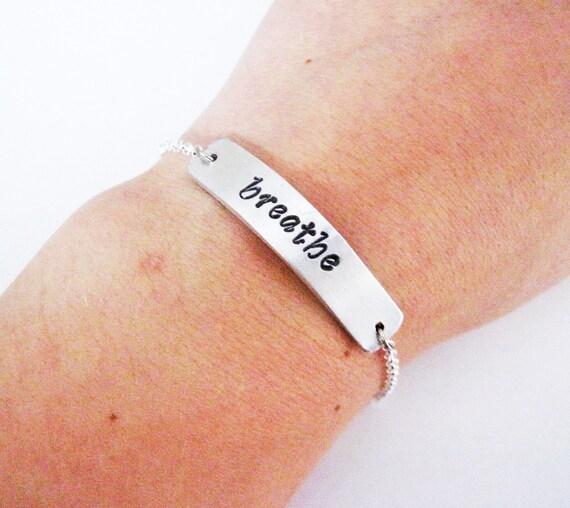 Breathe bracelet hand stamped metal bar, yoga jewlery, hand stamped bracelet, personalized, plate bracelet, name bar bracelet, yoya jewelry