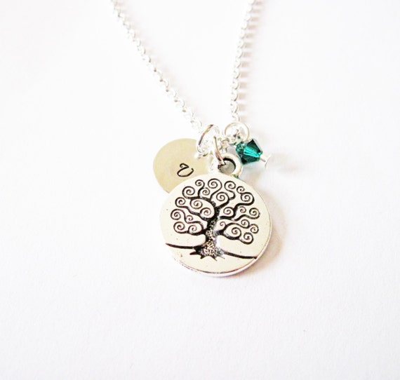 personalized necklace, tree of life necklace, initial birthstone necklace, customized necklace tree, bridesmaid gift, silver necklace, tiny