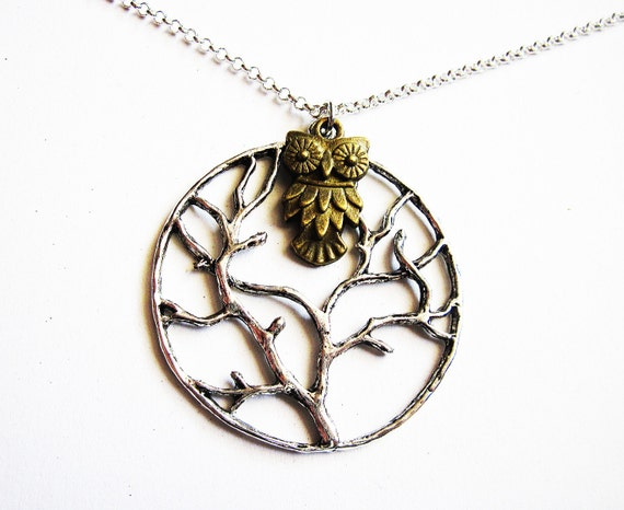 Owl Necklace, Tree of Life Necklace, Owl Charm Jewelry, Round pendant, Brass Owl Necklace, Silver chain, Mixed metals