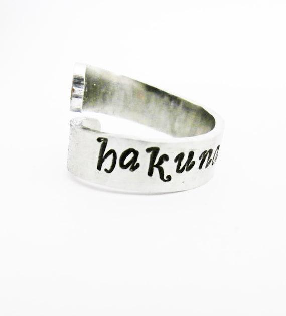Hakuna Matata Hand Stamped Spiral Ring Aluminum Skinny Cuff Adjustable Silver No Worries Inspirational Motivation handstamped twist ring