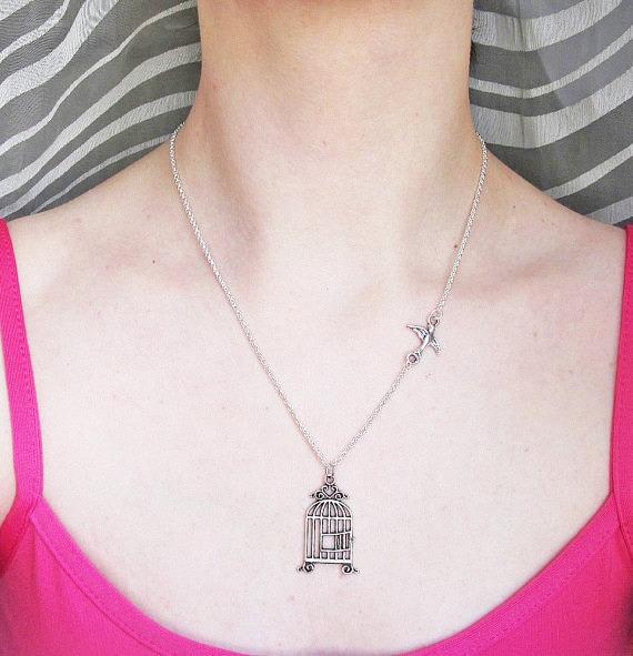 Bird Necklace, Silver bird Necklace, Be free bird necklace, bird cage necklace, swalllow bird necklace, birdie charm necklace, bird jewelry