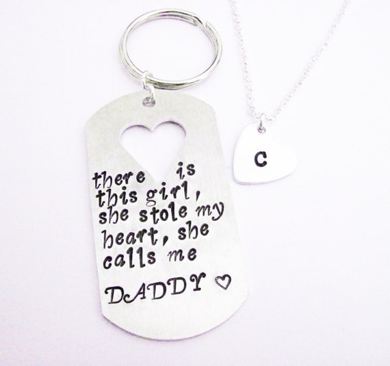 Personalized Handstamped Daddy daughter keychain necklace, There is this girl she stole my heart she calls me daddy father's day keychain