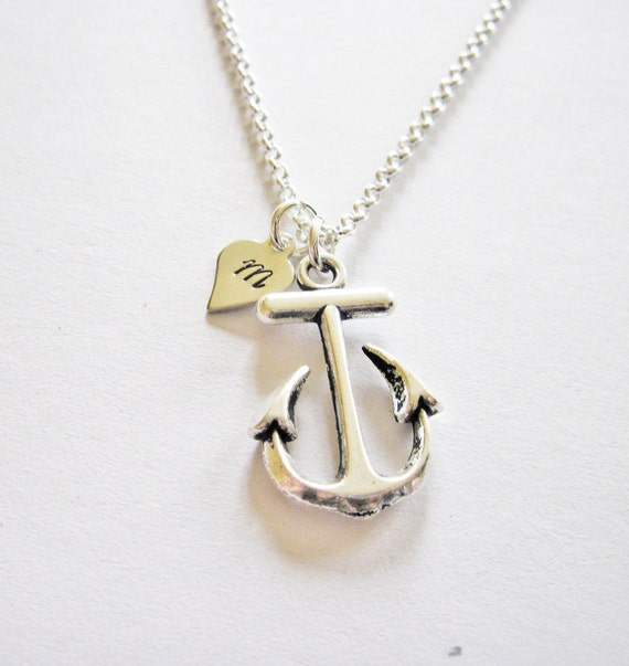 Personalized initial anchor necklace, anchor necklace, nautical charm, initial necklace, monogram necklace, nautical jewelry custom ooak